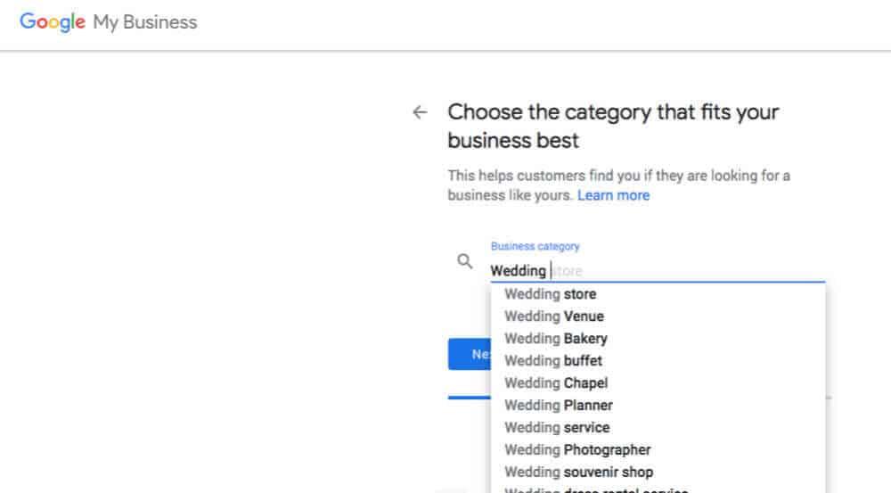 16. SEO Wedding Guide Google My Business Categories 1