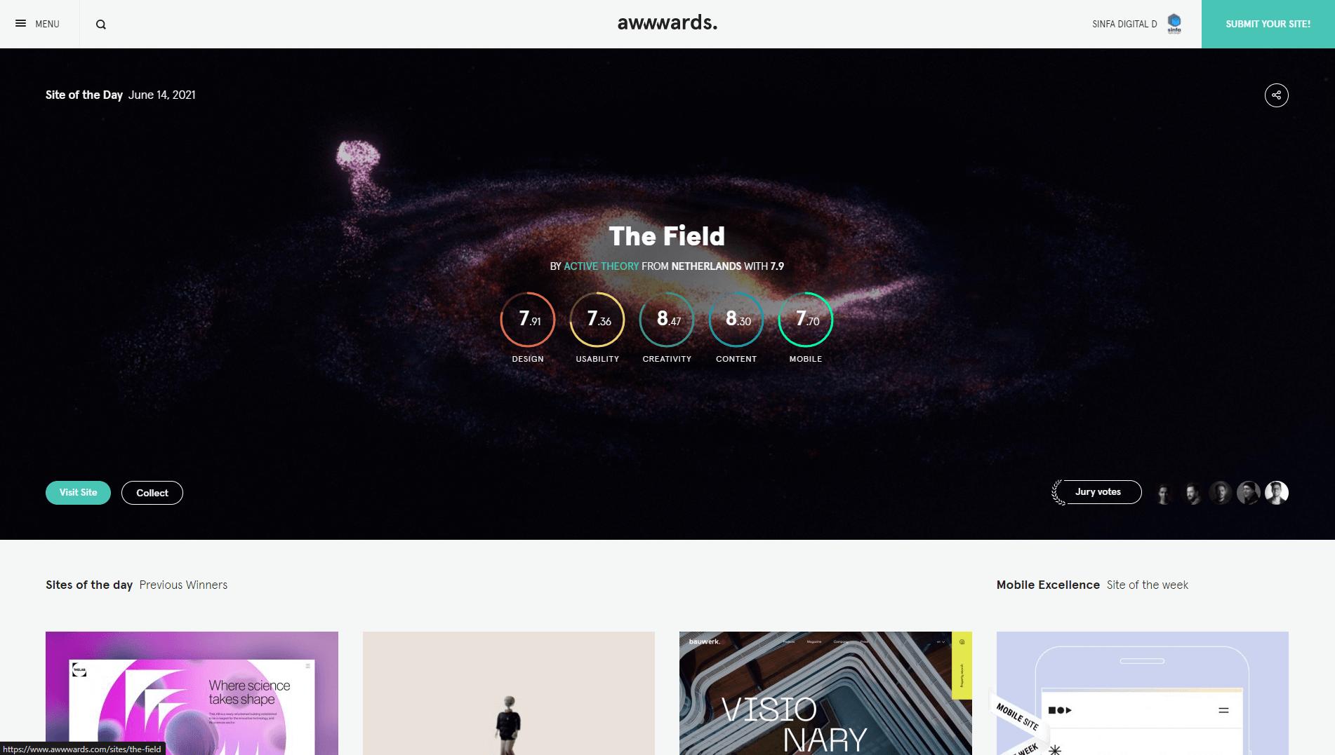 Sinfa Digital - Our Website Design Awards & Recognitions Sinfa Digital Designs
